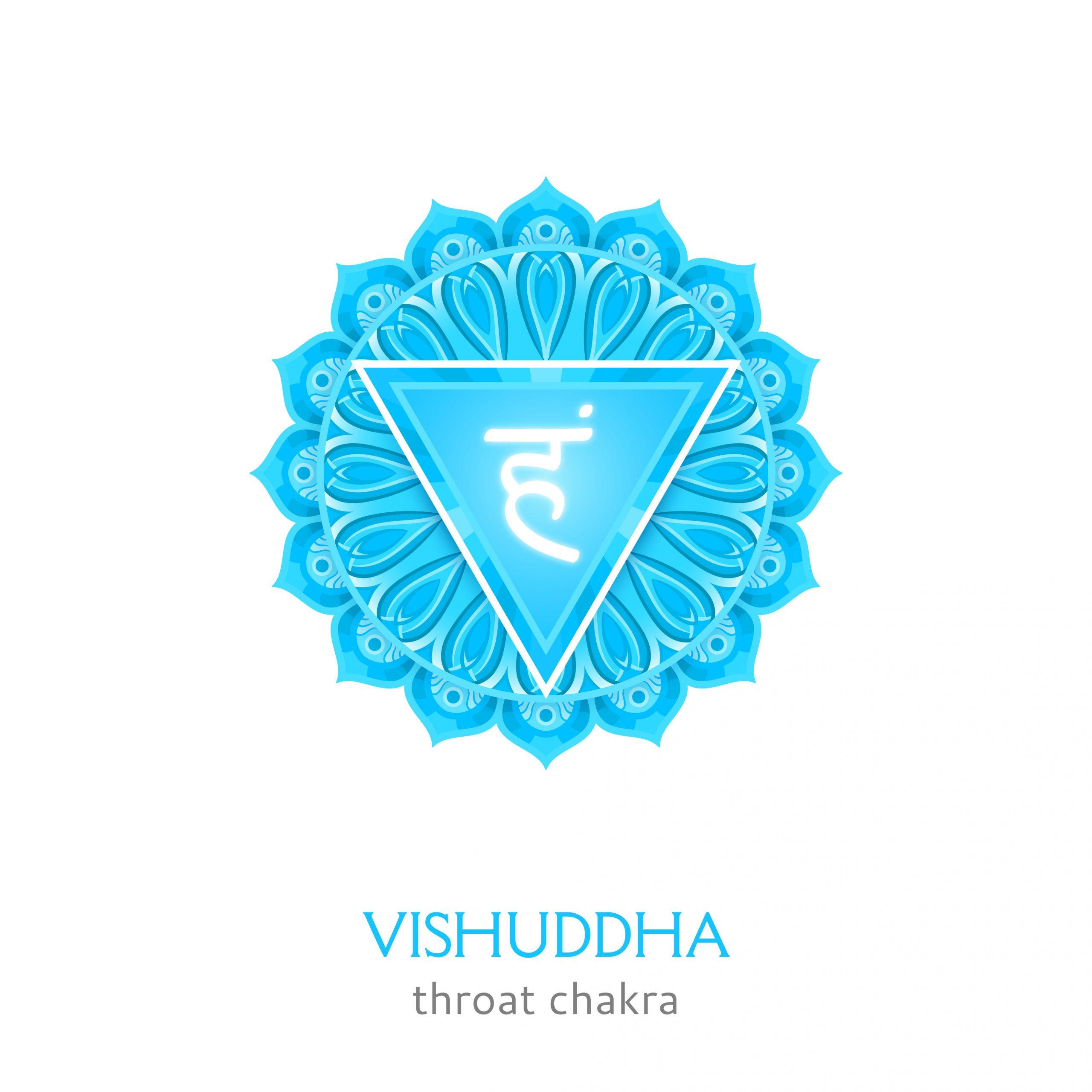 Vishuddha, throat chakra symbol. Colorful mandala. Vector illustration